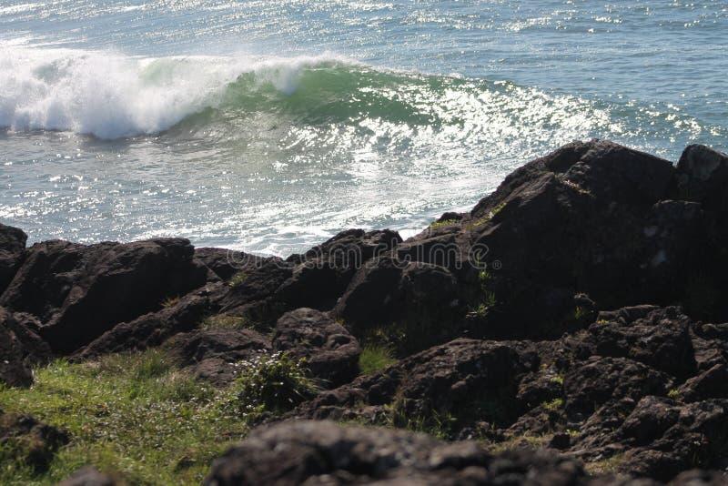 Por do sol surfando das ondas da ruptura do ponto foto de stock royalty free
