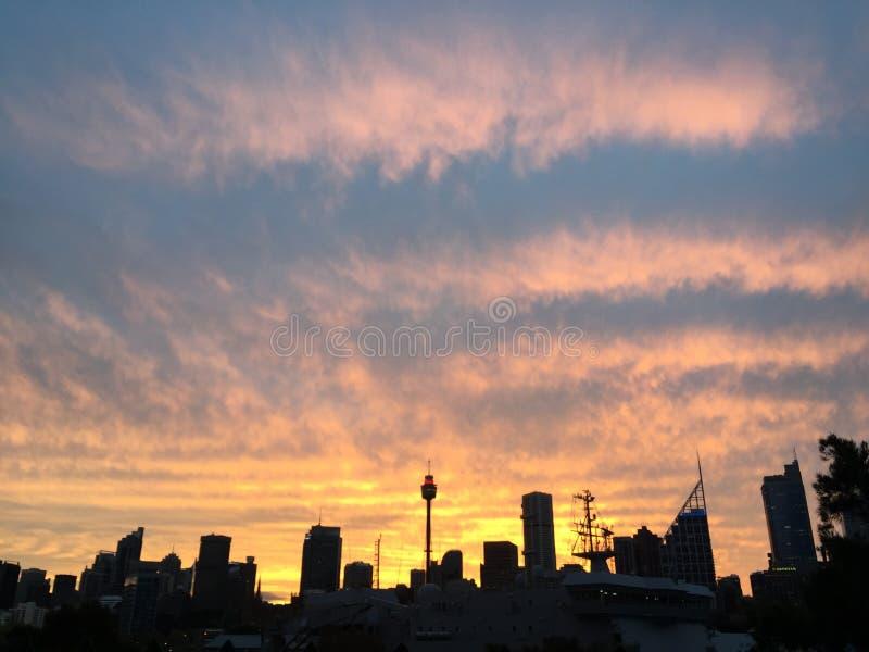 Por do sol Sydney foto de stock