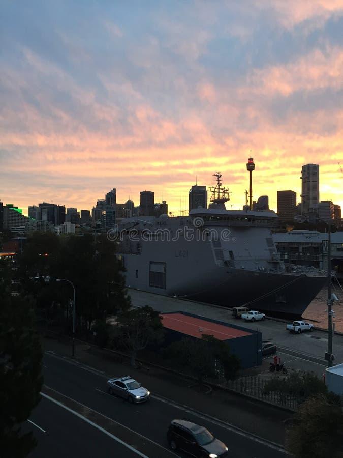 Por do sol Sydney fotografia de stock