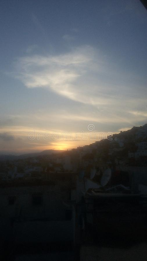 Por do sol 3 Tetouan Marrocos imagem de stock