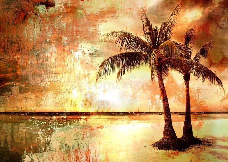 Por do sol tropical ilustração do vetor