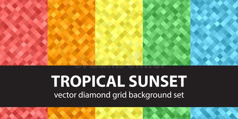 Por do sol tropical ajustado do teste padrão do diamante ilustração do vetor