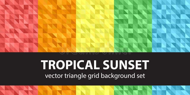 Por do sol tropical ajustado do teste padrão do triângulo ilustração do vetor