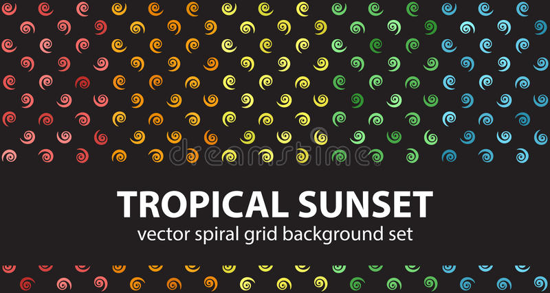 Por do sol tropical ajustado do teste padrão espiral Fundos sem emenda do vetor ilustração stock
