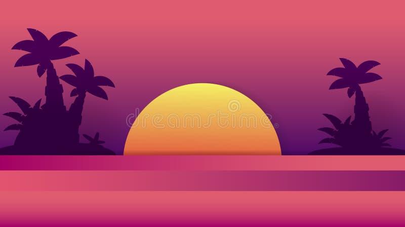 Por do sol tropical Ilustra??o do ver?o E Projeto do fundo Projeto da praia do ver?o Palmeira tropical ilustração do vetor