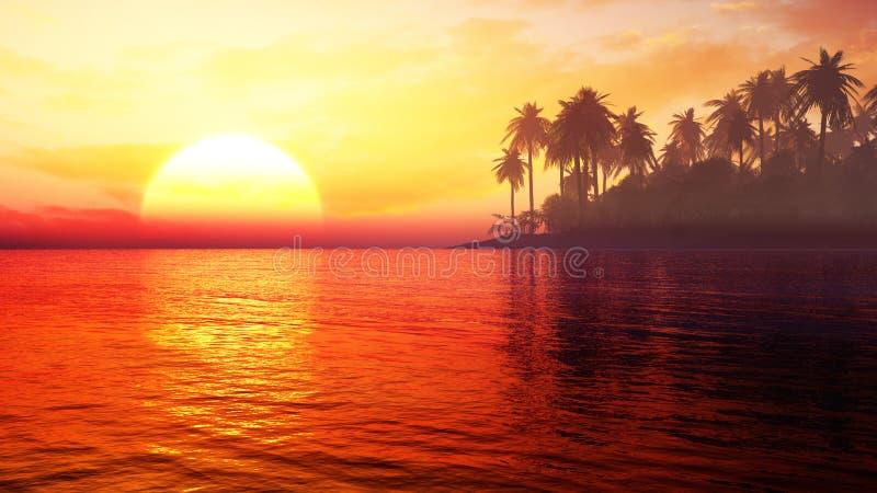Por do sol tropical macio da ilha com cores vívidas fotografia de stock