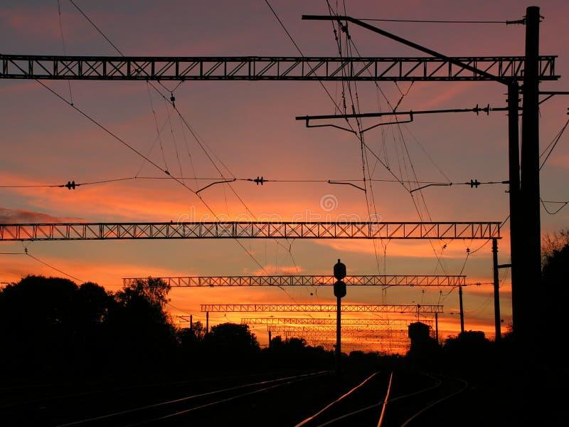 Por do sol urbano fotografia de stock royalty free