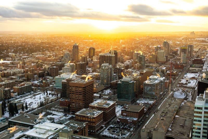 Por do sol urbano da cidade de Calgary imagens de stock