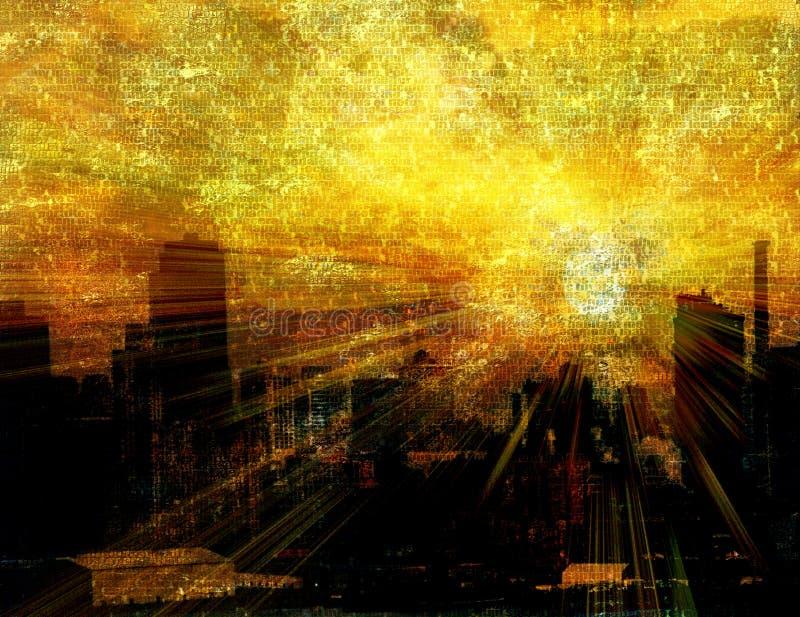 por do sol urbano ilustração do vetor