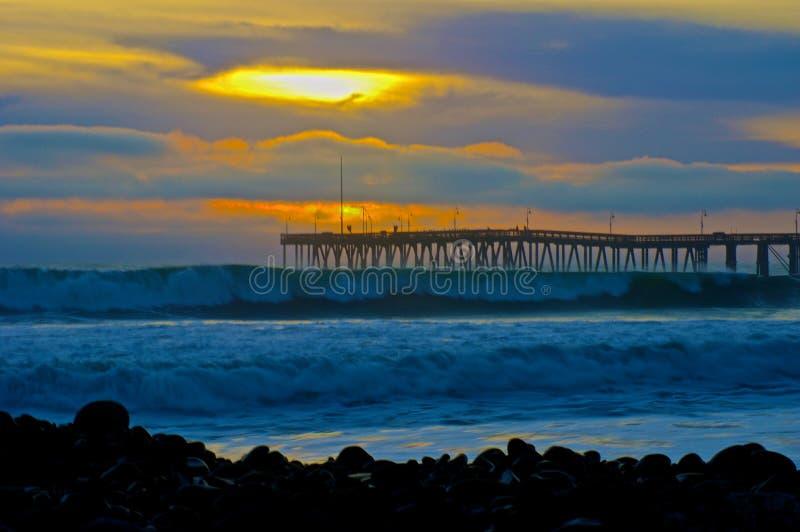 Por do sol Ventura Pier imagens de stock royalty free