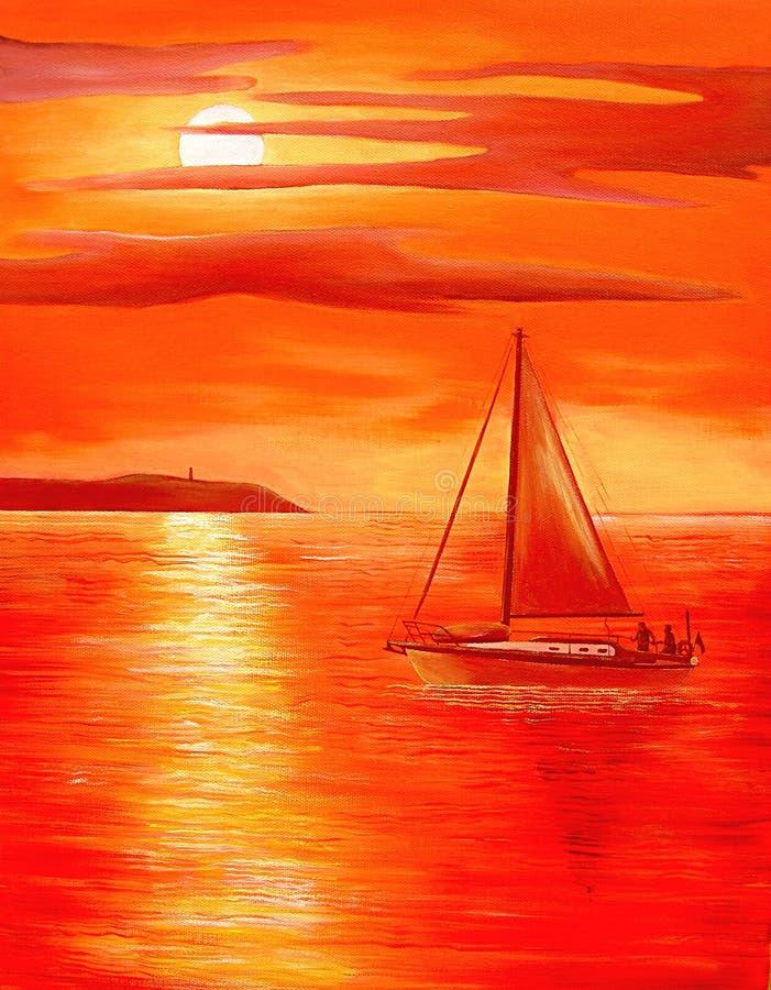Por do sol vermelho ilustração do vetor