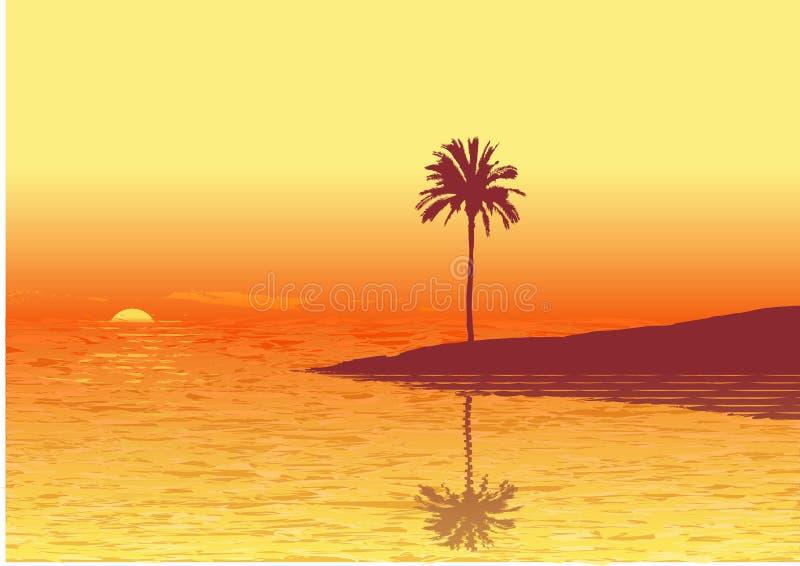Por do sol vermelho ilustração stock