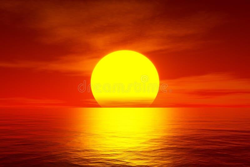Por do sol vermelho sobre o oceano ilustração do vetor