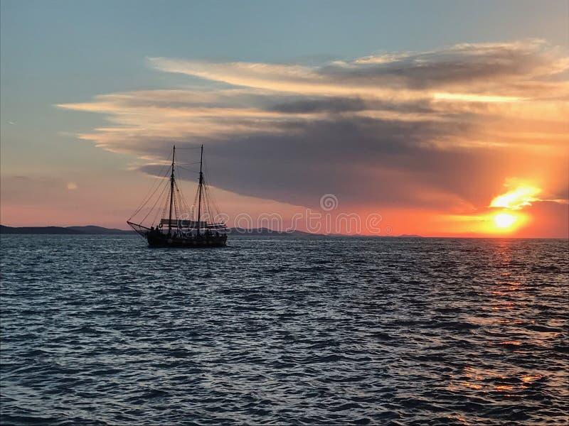 Por do sol Zadar fotografia de stock