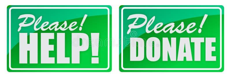 Por favor doe e dê o verde ilustração royalty free