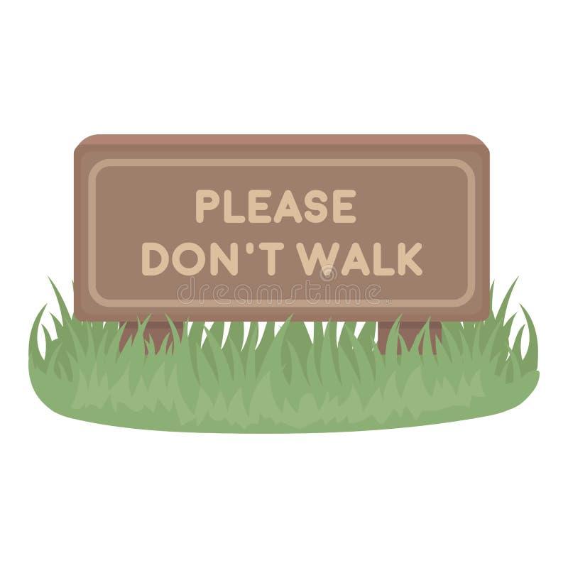 Por favor don& x27; ícone da caminhada de t no estilo dos desenhos animados isolado no fundo branco Ilustração do vetor do estoqu ilustração royalty free