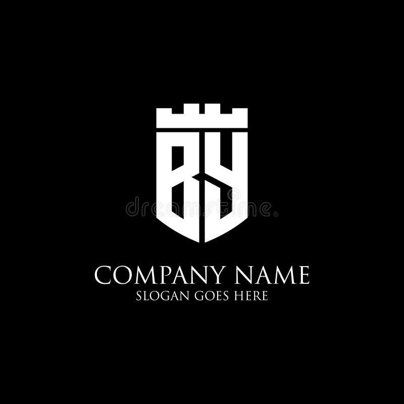 POR la inspiración inicial del diseño del logotipo del escudo, plantilla real del logotipo de la corona - fácil a utilizado para  stock de ilustración