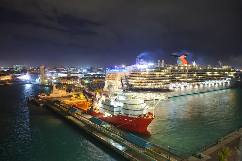 Por of nassau, bahamas at night. Low everhead view of port of Nassau, Bahamas royalty free stock images
