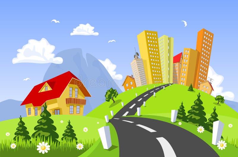 Por naturaleza paisaje rodeado ciudad stock de ilustración