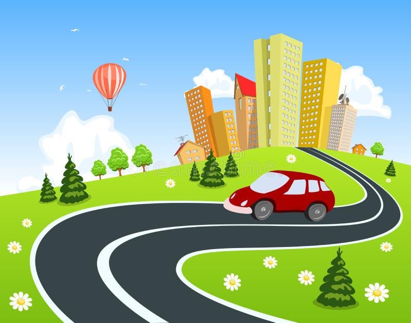 Por naturaleza paisaje rodeado ciudad con el coche libre illustration