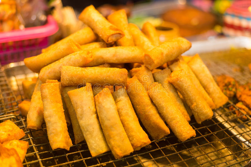 Por Pieer Tod,Local Thai Spring Roll stock image