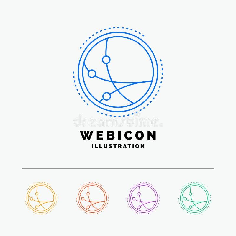 por todo el mundo, comunicación, conexión, Internet, línea de color de la red 5 plantilla del icono de la web aislada en blanco I libre illustration