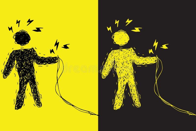 porażenie prądem ostrzeżenie ilustracja wektor