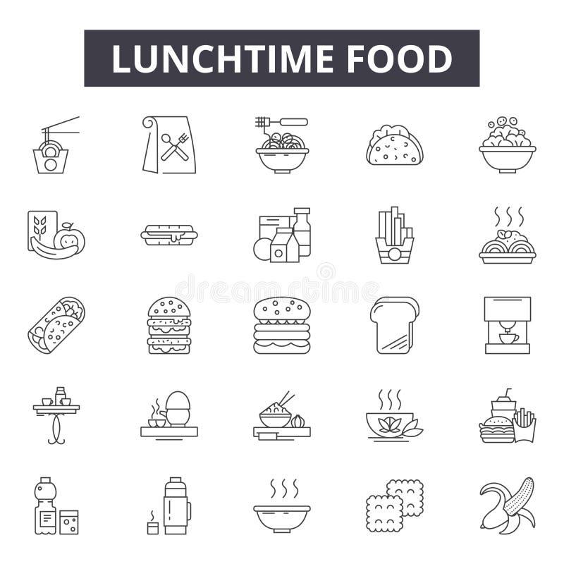 Pora lunchu jedzenia linii ikony, znaki, wektoru set, kontur ilustracji pojęcie ilustracja wektor