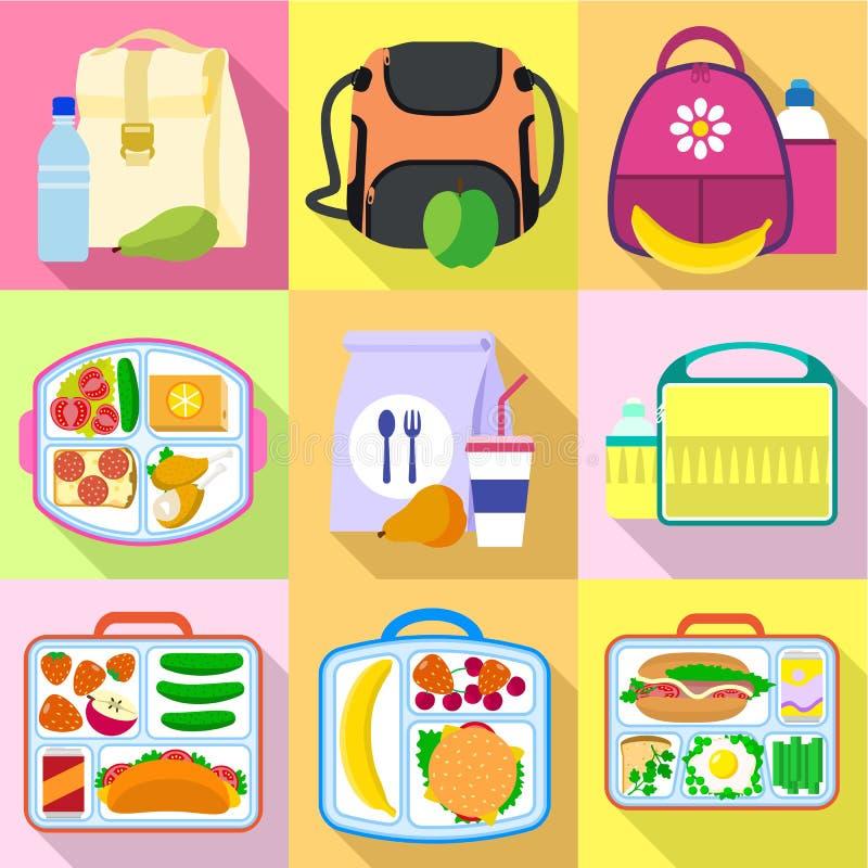 Pora lunchu torby ikony set, mieszkanie styl ilustracji