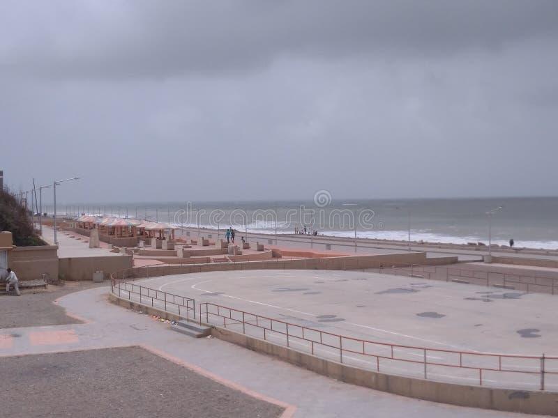 Porbandar chopati sight scene with sea shore royalty free stock photography