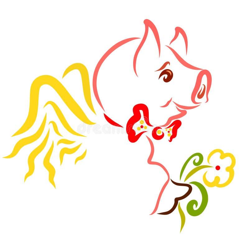 Porc à ailes mignon avec une fleur, animal gai romantique illustration de vecteur