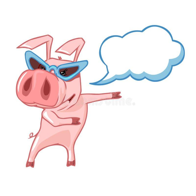 Porc avec des verres avec un nuage de légende illustration de vecteur