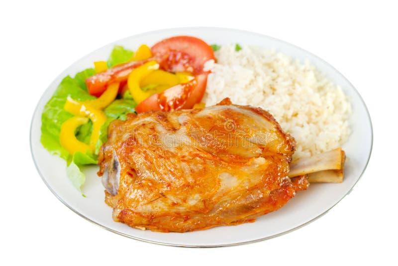 Porc avec du riz photographie stock