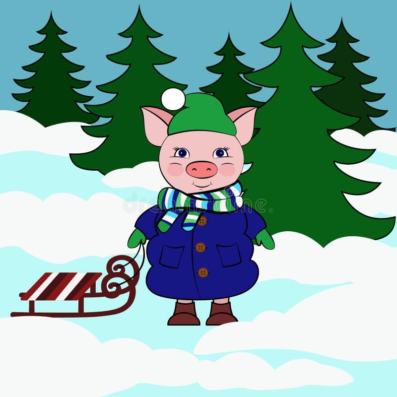 Porc avec le traîneau dans ta forêt neigeuse illustration stock