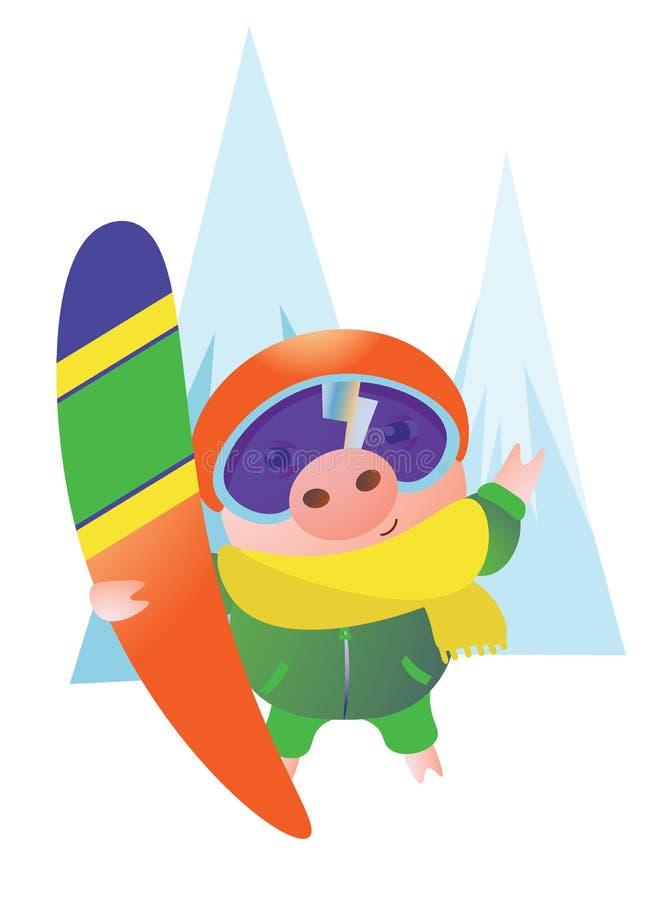 Porc avec un casque et un surf des neiges illustration stock