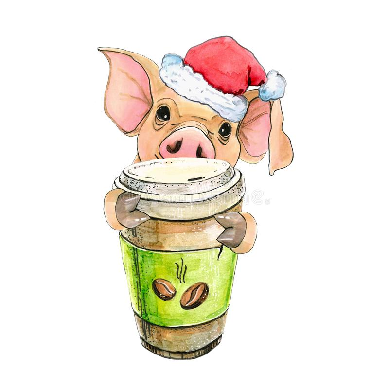 Porc avec une tasse de café et du chapeau de Santa Claus New Year Symbole 2019 d'illustration de Noël D'isolement illustration stock