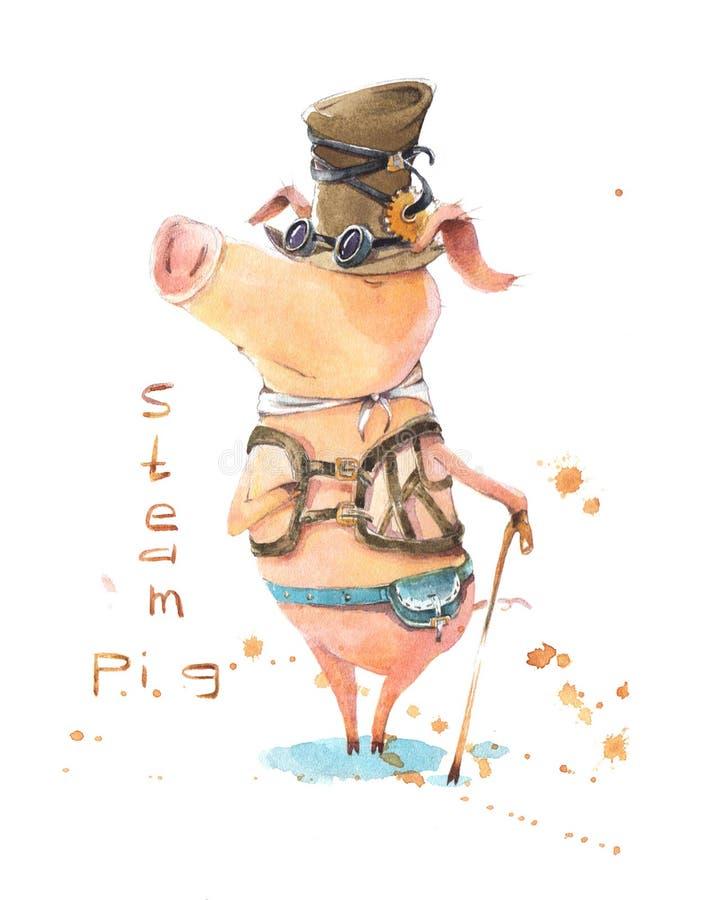 Porc charismatique et irrésistible de vapeur illustration libre de droits