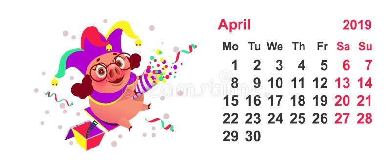 Porc clown calendrier année en avril 2019 Le jour des imbéciles illustration de vecteur