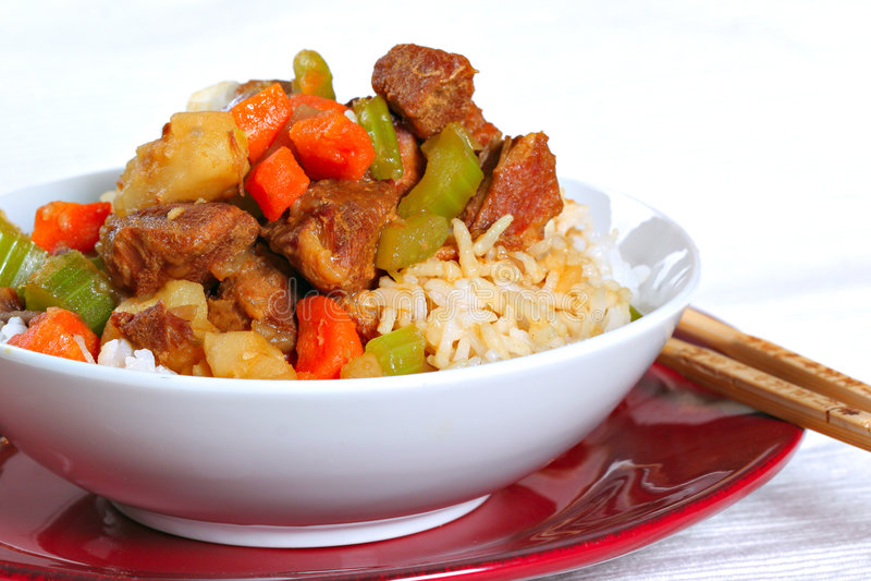 Porc cuit au-dessus de riz photo libre de droits