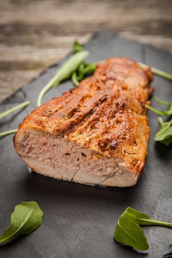 Porc cuit au four délicieux image stock