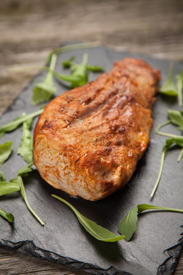 Porc cuit au four délicieux photographie stock