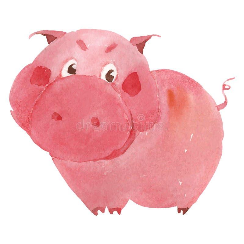 Porc d'aquarelle illustration de vecteur