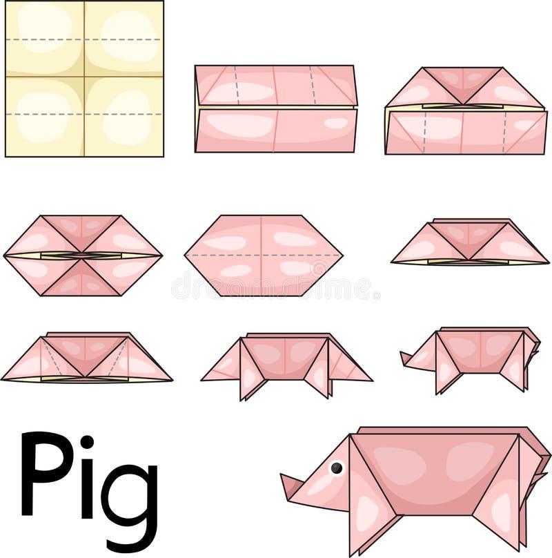 Porc d'origami illustration stock