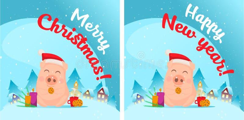 Porc dans la scène de neige Carte postale image stock