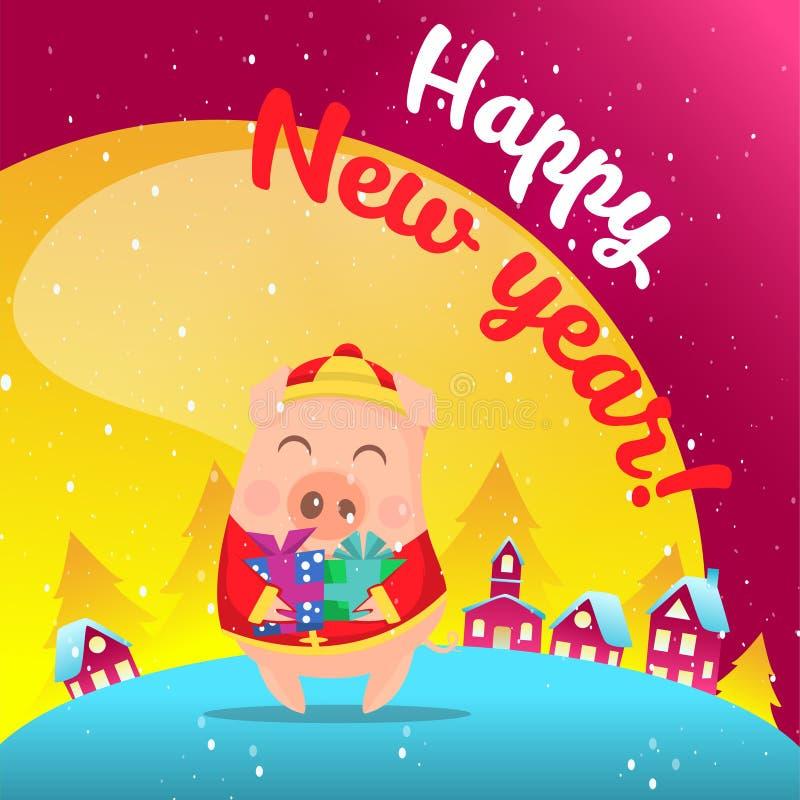 Porc dans la scène de neige postcard image libre de droits