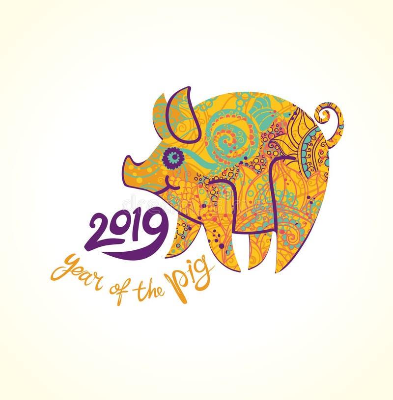 Porc dans le symbole floral de décoration du 2019 prochain illustration stock