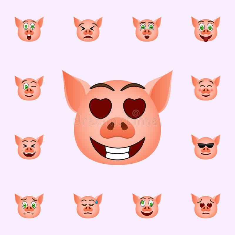 Porc dans les yeux avec l'ic?ne d'emoji de coeurs Ensemble universel d'ic?nes d'emoji de porc pour le Web et le mobile illustration libre de droits