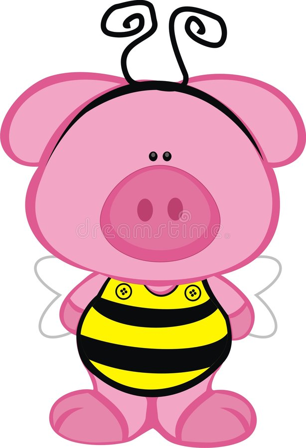 Porc dans un costume d'abeille illustration de vecteur