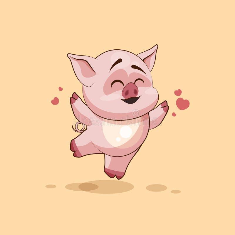 Porc de bande dessinée de caractère d'Emoji sautant pour la joie, émoticône heureuse d'autocollant illustration libre de droits