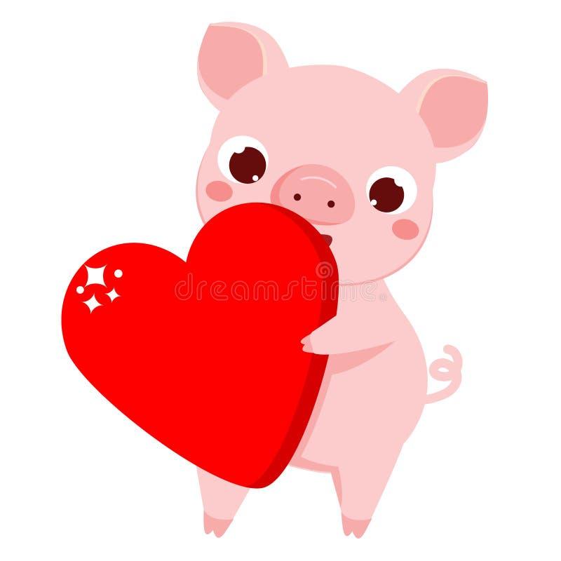 Porc de bande dessinée, symbole du coeur 2019 rouge de withbig de nouvelle année de chinse illustration de vecteur pour les calen illustration de vecteur